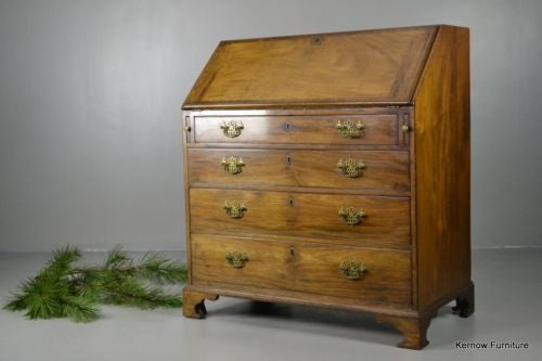 Georgian Style Mahogany Writing Bureau - Kernow Furniture