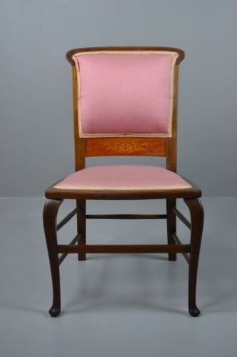 Single Mahogany Inlaid Bedroom Chair - Kernow Furniture 100s vintage, retro & antique items in stock