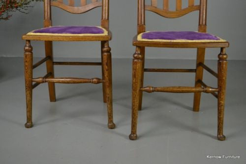 Pair Pitch Pine High Back Chairs - Kernow Furniture