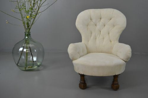 Antique Victorian Button Back Armchair Nursing Chair - Kernow Furniture