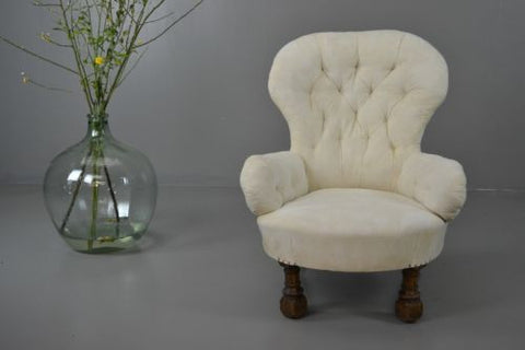 Antique Victorian Button Back Armchair Nursing Chair - Kernow Furniture 100s vintage, retro & antique items in stock