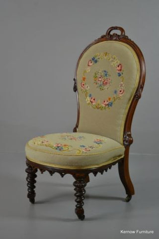 Antique Victorian Rosewood Floral Needlework Nursing Chair - Kernow Furniture 100s vintage, retro & antique items in stock