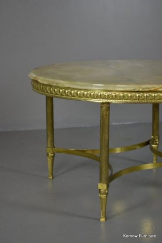 Retro 1970s Onyx & Brass Coffee Table - Kernow Furniture 100s vintage, retro & antique items in stock
