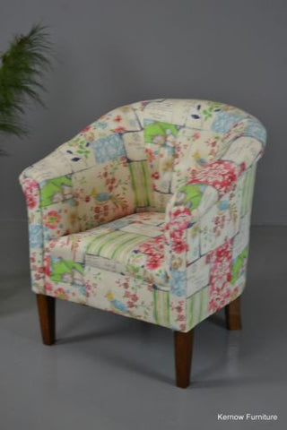 Antique Early 20th Century Floral Upholstered Tub Chair Armchair - Kernow Furniture 100s vintage, retro & antique items in stock