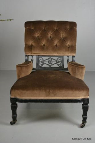 Antique Edwardian Small Ebonised Button Back Armchair Chair - Kernow Furniture 100s vintage, retro & antique items in stock