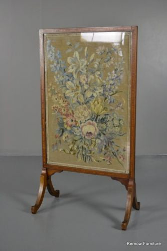 Antique Inlaid Mahogany Floral Fire Screen - vintage retro and antique furniture