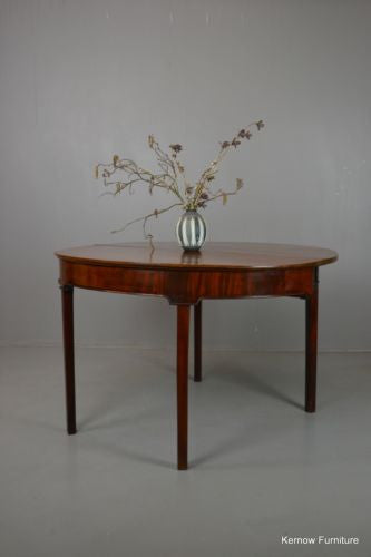Victorian Mahogany Folding Demi Lune Tea Table - Kernow Furniture - 1