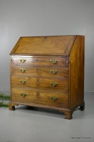 Georgian Style Mahogany Writing Bureau - Kernow Furniture 100s vintage, retro & antique items in stock
