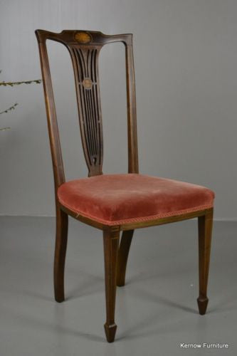 Antique Vintage Edwardian Inlaid Mahogany High Back Occasional Chair - Kernow Furniture 100s vintage, retro & antique items in stock