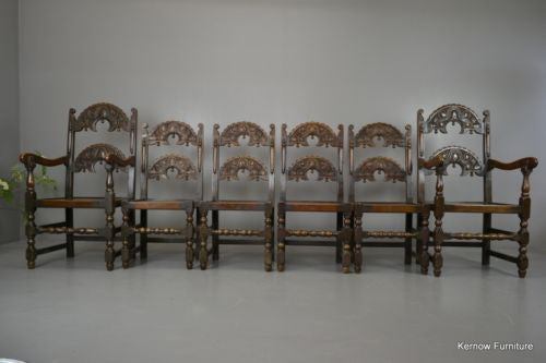Set 6 17th Century Style Oak & Elm Yorkshire Dining Chairs - Kernow Furniture