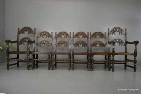 Set 6 17th Century Style Oak & Elm Yorkshire Dining Chairs - Kernow Furniture 100s vintage, retro & antique items in stock
