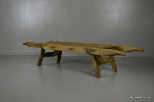 Antique 19th Century Rustic Pine Coffin Bier Stand - Kernow Furniture