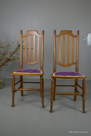 Pair Pitch Pine High Back Chairs - Kernow Furniture 100s vintage, retro & antique items in stock