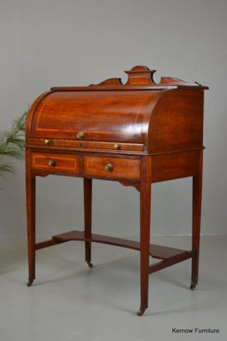 Antique Edwardian Ladies Cylinder Writing Desk Bureau - Kernow Furniture 100s vintage, retro & antique items in stock