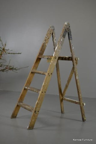 Vintage Wooden Folding Ladder - Kernow Furniture 100s vintage, retro & antique items in stock