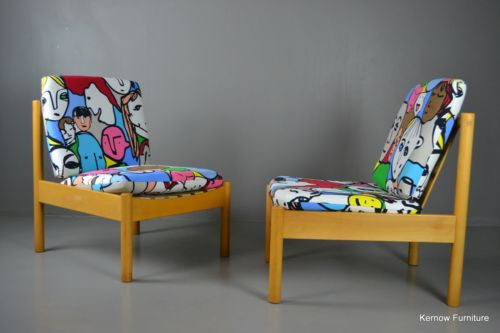 Pair Vintage Ercol Easy Chairs Armchairs - Kernow Furniture