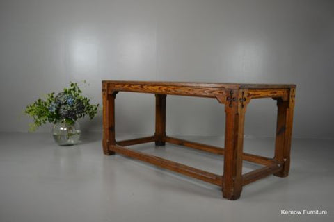 Large Pitch Pine Chapel Refectory Dining Kitchen Table - Kernow Furniture