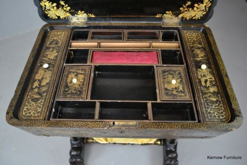 Chinoiserie Chinese Black Lacquer Work Table Sewing Tidy Box