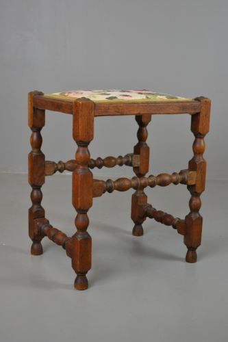 Antique Vintage Oak Turned Small Stool - vintage retro and antique furniture
