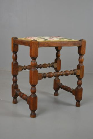 Antique Vintage Oak Turned Small Stool - Kernow Furniture 100s vintage, retro & antique items in stock