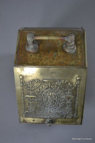 Antique Victorian Brass Coal Scuttle - Kernow Furniture