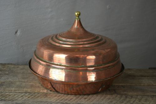 Antique Copper Pot & Lid - vintage retro and antique furniture