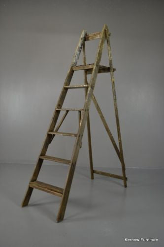 Large Vintage Wooden Ladder - Kernow Furniture 100s vintage, retro & antique items in stock