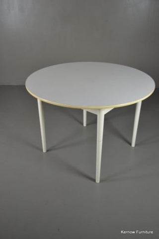 Retro White Formica Round Dining Table - Kernow Furniture 100s vintage, retro & antique items in stock