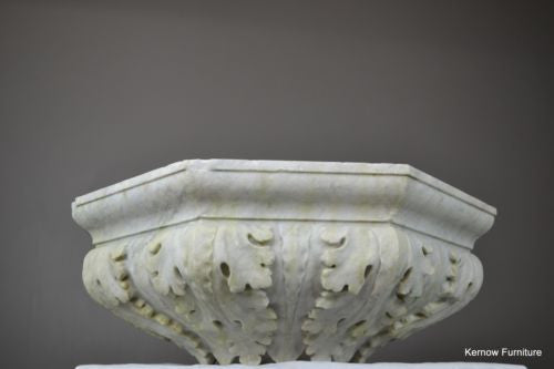 Huge Acanthus Carved White Marble Bowl Basin - Kernow Furniture 100s vintage, retro & antique items in stock
