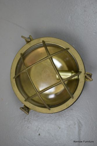 Vintage Round Brass Bulk Head Ships Lamp - Kernow Furniture 100s vintage, retro & antique items in stock