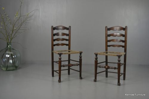 Pair Stained Beech Rustic Country Kitchen Ladderback Chairs - Kernow Furniture 100s vintage, retro & antique items in stock