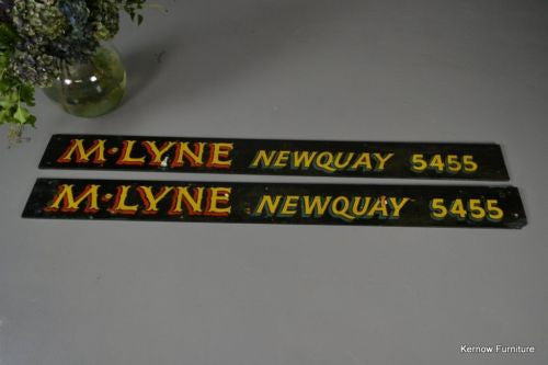 Pair Vintage Painted Advertising Signs - Kernow Furniture 100s vintage, retro & antique items in stock
