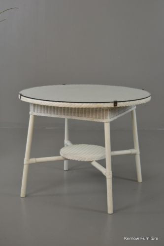 Vintage White Lloyd Loom Round Table Conservatory - Kernow Furniture 100s vintage, retro & antique items in stock