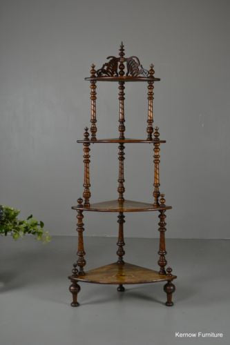 Antique Victorian Ornate Inlaid Walnut Corner Whatnot Shelving - Kernow Furniture 100s vintage, retro & antique items in stock