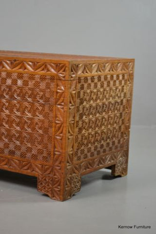 Oriental Geometric Blanket Box - Kernow Furniture 100s vintage, retro & antique items in stock