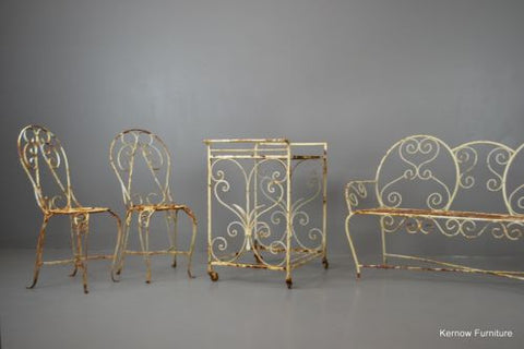 Vintage French Garden Furniture Set Wrought Iron Patio Chairs Bench - Kernow Furniture 100s vintage, retro & antique items in stock