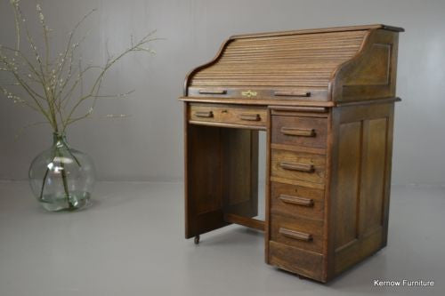 20th Century Oak Tambour Desk - vintage retro and antique furniture
