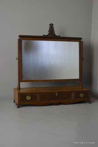 Antique Georgian Mahogany Inlaid Dressing Toilet Swing Mirror - Kernow Furniture 100s vintage, retro & antique items in stock