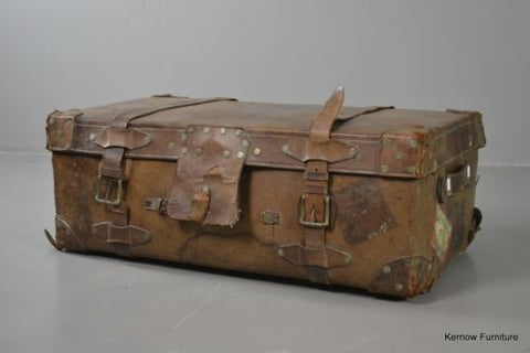 Tan Leather Vintage Suitcase Luggage - Kernow Furniture 100s vintage, retro & antique items in stock