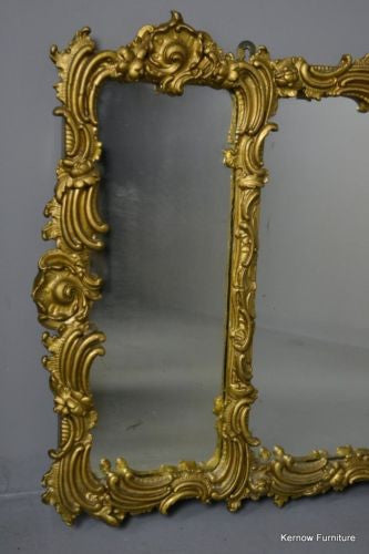 Large Ornate Rococo Style Overmantle Mirror - Kernow Furniture