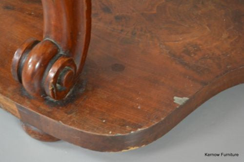 Victorian Mahogany & Marble Demi Lune Table - Kernow Furniture