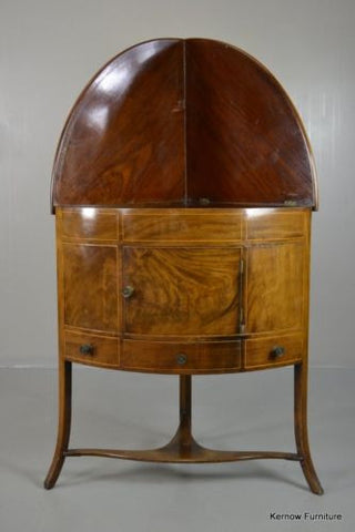 Mahogany 19th Century Bow Front Corner Washstand - Kernow Furniture 100s vintage, retro & antique items in stock