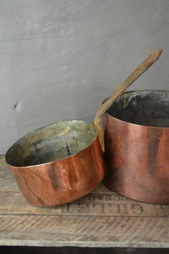 Pair Antique Copper Saucepans - Kernow Furniture 100s vintage, retro & antique items in stock