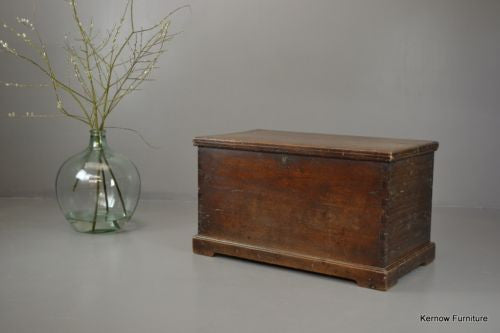 Antique 19th Century Solid Teak Trunk Blanket Box - Kernow Furniture