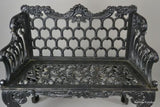 Pair White House Rose Garden Kramer Bros Style Cast Iron Benches - Kernow Furniture