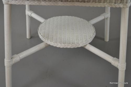 Vintage White Lloyd Loom Round Table Conservatory - Kernow Furniture