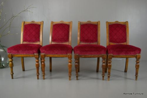 Set 4 Antique Victorian Dining Chairs - Kernow Furniture