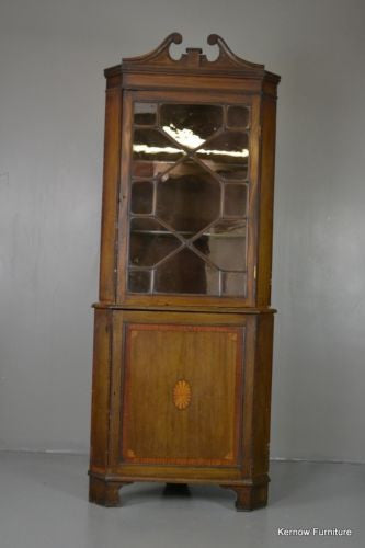 Edwardian Astragal Glazed Corner Cabinet - Kernow Furniture 100s vintage, retro & antique items in stock