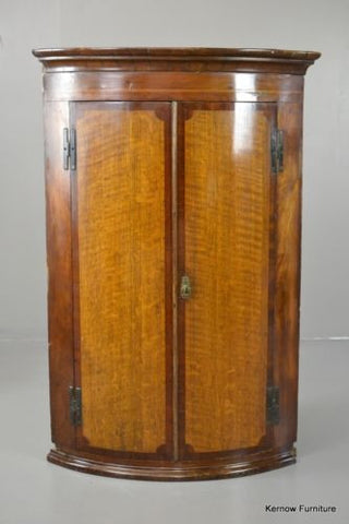 Antique Georgian George III Mahogany & Oak Bow Front Wall Corner Cupboard - Kernow Furniture 100s vintage, retro & antique items in stock