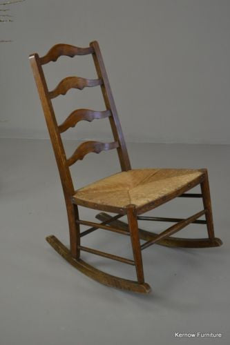 Rustic Country Ladderback Rush Rocking Chair - Kernow Furniture 100s vintage, retro & antique items in stock